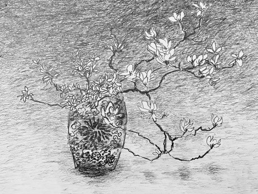 L'Ikebana, crayon 15x20, DISPONIBLE