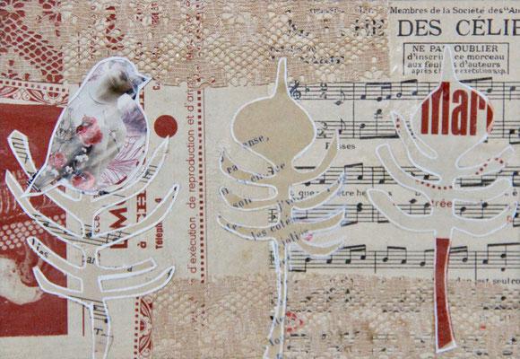 Un Oiseau Trois Arbres, Aquarelle et collages 15X25