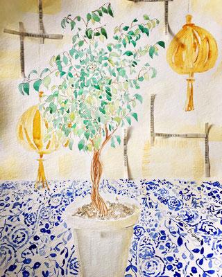 Le Ficus de Satoriz, aquarelle 30X40 VENDU