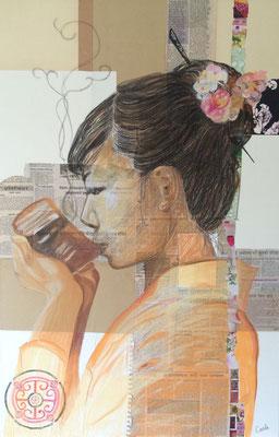Thé Zen, Carré Conté et collages 75X115