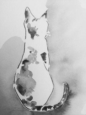 Le Temps passé avec un chat, Aquarelle, 15X25