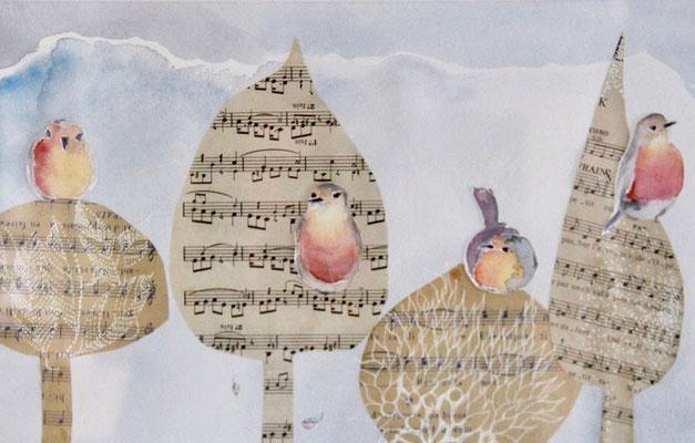 Quatre oiseaux dans le vent, Aquarelle et collages 30X40