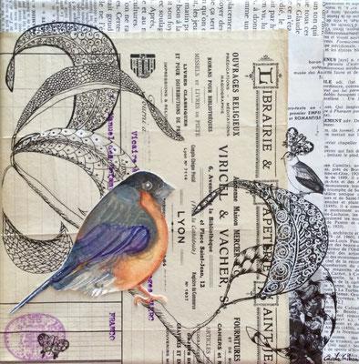 L'Oiseau Libraire, Aquarelle et collages, 20X20 VENDU
