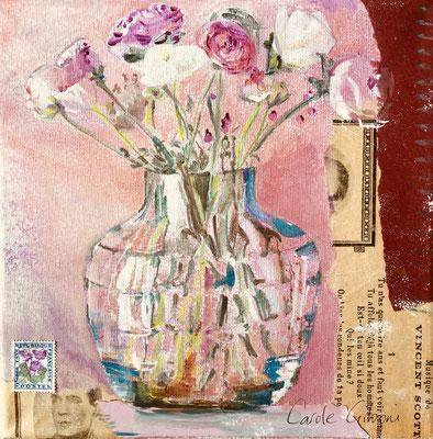 Roses Roses, collages et acrylique VENDU