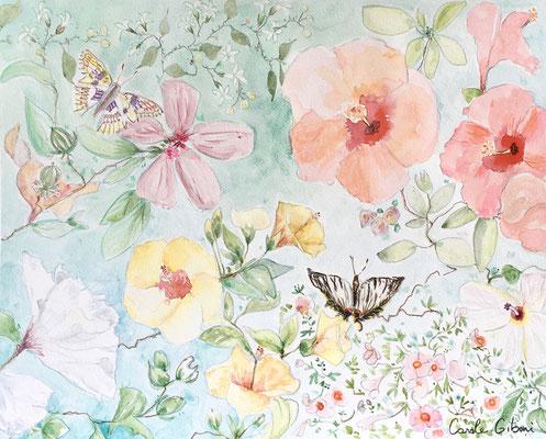 Les Hibiscus, aquarelle 40X50, VENDU