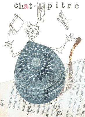 Chat Pitre, Encre de Chine et collages 10X15 DISPONIBLE