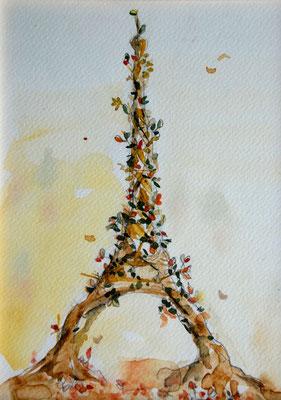 L'Arbre Tour Eiffel, Aquarelle 20X30 VENDU