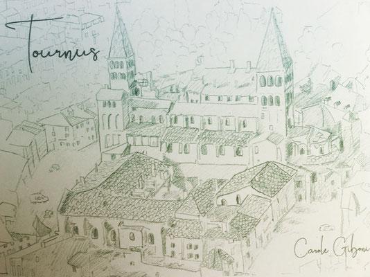 Abbaye de Tournus vue du ciel, crayon 30X40