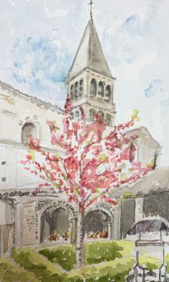 Abbaye de Tournus vue du cloître, Aquarelle, 15X25