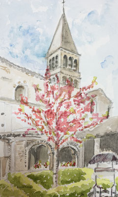 Abbaye de Tournus vue du cloître, Aquarelle, 15X25 VENDU
