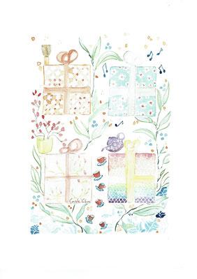Les Cadeaux, Aquarelle 20X30 DISPONIBLE