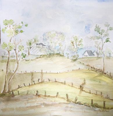 Paysage de Bourgogne, aquarelle