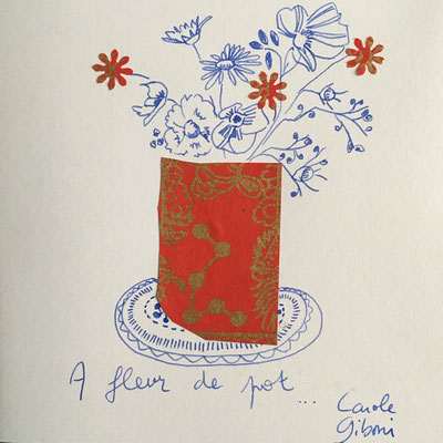 A Fleur de Pot, aquarelle et collage 12X12, passe partout 20X20 DISPONIBLE