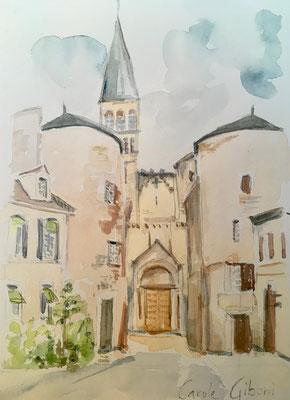 Entrée Abbaye de Tournus, Aquarelle DISPONIBLE