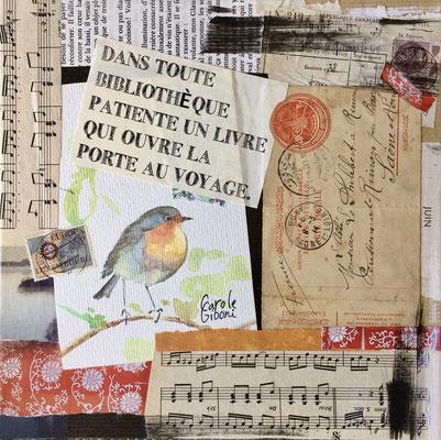 L'Oiseau Voyageur, collage de vieux papiers et aquarelle
