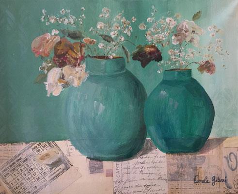 Les Fleurs fanées, acrylique et collages sur toile, 32X40 DISPONIBLE