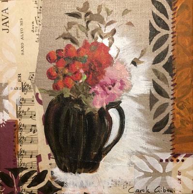 Bouquet Rouge, Acrylique et collages, 25X25 VENDU