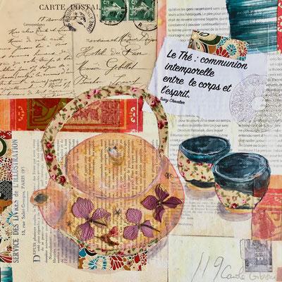 Le Thé, acrylique sur collages, 25X25 VENDU