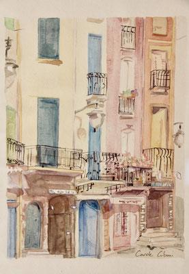 Rue de Collioure, Aquarelle, 20X30 VENDU