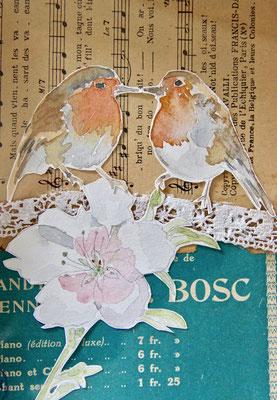 Oiseaux bisou, Aquarelle et collages 15X25 VENDU