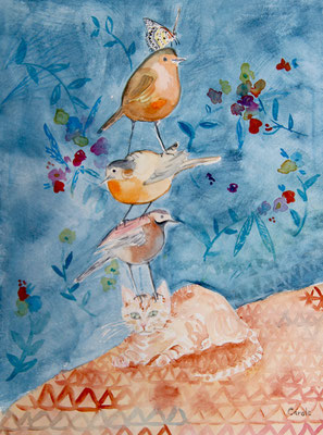 Un Chat Trois Oiseaux, Aquarelle 30X40 VENDU