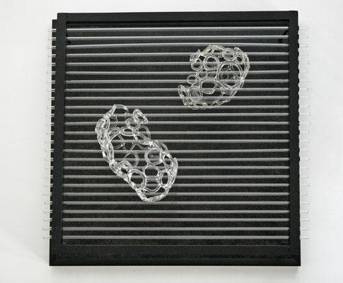 """""""Lichtzeichnung"""", 2008, Glas, Holz 30x30cm"""