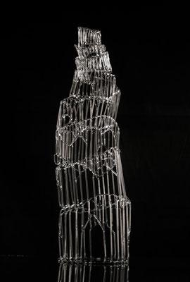 """""""Turmbau zu Babel"""", 2016, Glas, 47cm hoch, 13cm Durchmesser"""