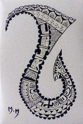 Hameçon réalisé à partir d'un tatouage conçu par Isidore de Heitatoo à Raiatea- 20 x 30 - À VENDRE