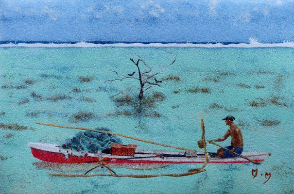 Pêcheur à Haapiti - 30 x 20 - À VENDRE