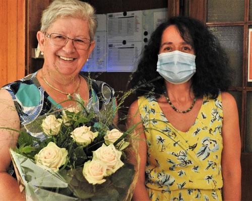Einen wunderschönen Rosenstrauss bekam Rosmarie