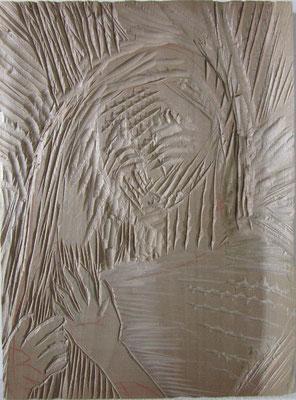 「髪をさわる」  20x15cm 板 レリーフ 2016年