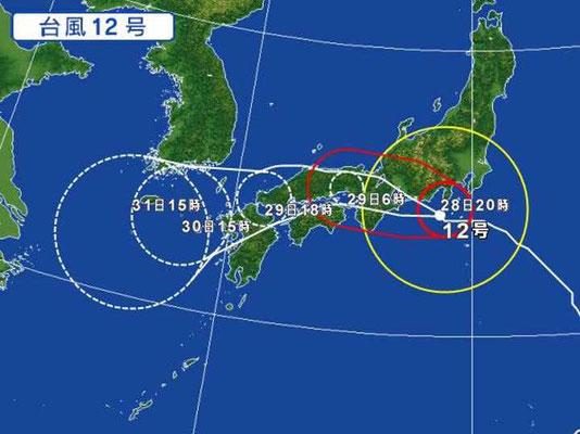 2018年の台風12号は東から西に曲がる逆走台風
