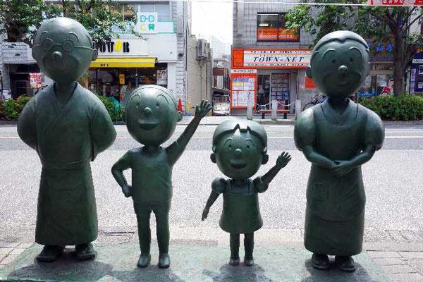 磯野家の銅像が何カ所かあります