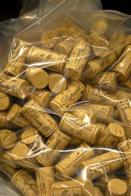 Wijnkurken in een zak