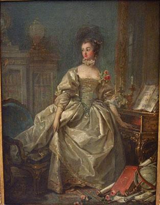 François Boucher, Madame de Pompadour, la main sur le clavier du clavecin, 1750,Huile sur papier marouflé sur toile, Paris, musée du Louvre, département des Arts graphiques