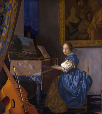 A Young Woman Seated at the Virginals by Johannes Vermeer, c. 1673-75