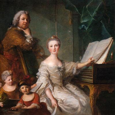 Jean-Marc-Nattier, Autoportrait-&-sa-famille, 1762, Huile-s-toile