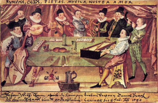 Collegium musicum from Gymnasium illustre at Lauingen, Germany, Tempera on paper, Stammbuchblatt 1590, Owner Dr. M. Wandersleb