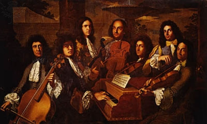 "A painting called ""The Concert"" by A D Gabbiani. There are several violinist, and cellist and a harpsichord player."