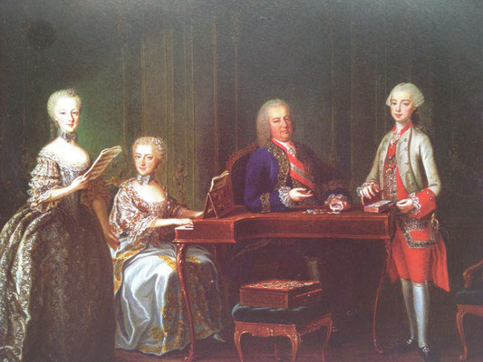 The portrait of Emperor François I's family, by Martin Van Meytens, 1763