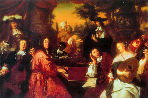 "Oil painting by Johannes Voorhout, ""Allegory on Friendship"" (1674), one of the only known depictions of composer Dietrich Buxtehude"