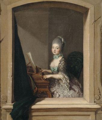 Dame am Cembalo im Fenster. Öl auf Leinwand. 51,5 x 43,5 cm. Deutschland, 18. Jhdt.
