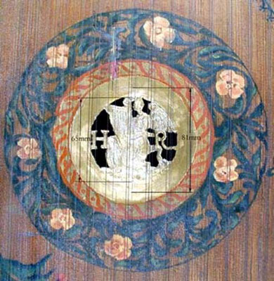 Ruckers rosette in the Franco-Flemish harpsichord.
