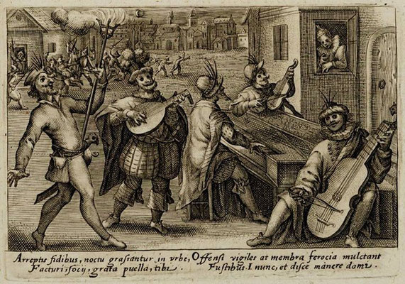 """Crispijn de Passe, """"Ronda nocturna de carnaval"""", grabado incluido en el impreso """"Academia, sive Speculum vitae scolasticae"""", Utrecht, 1612 y en otros impresos posteriores"""