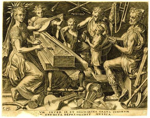 Gravure de Cornelis Cort (1565)  Allégorie de la Musique avec un virginal rectangulaire de type flamand