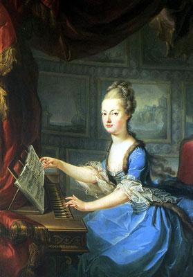 Marie Antoinette au clavecin, par Drouais (ou Wagenschön) aux alentours de 1770