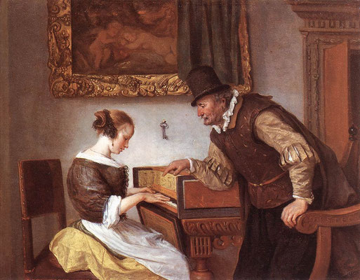 The harpsichord lesson by Jan Steen