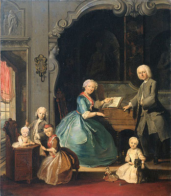 Cornelis Troost, Familiegroep bij een clavecimbel