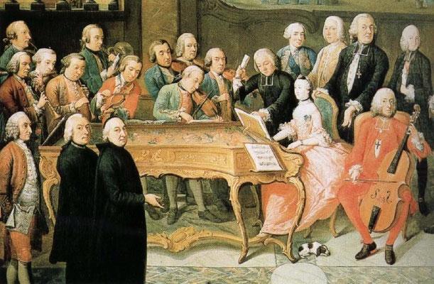 Detail from Paul-Joseph Delcloche's Concert à la cour du prince-évêque de Liège, circa 1755