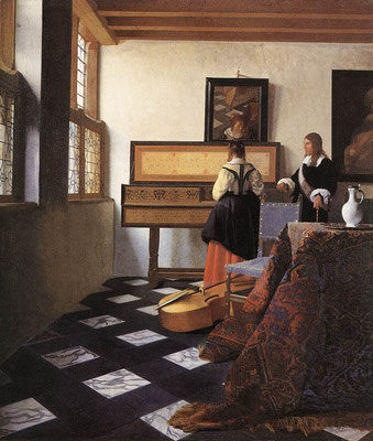 A lady at the virginals with a gentleman, known as 'The Music Lesson', Jan Vermeer van Delft , circa 1662–1665, Windsor/London, The Royal Collection